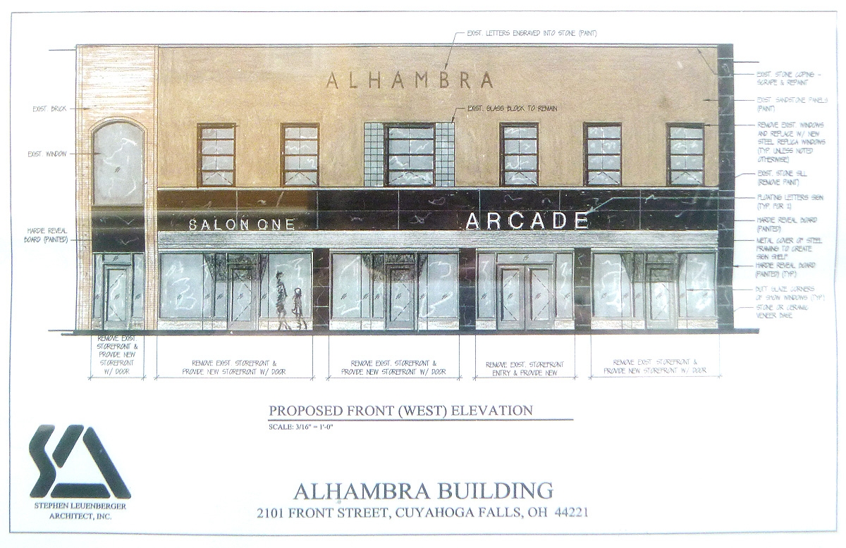 Alhambra Building architectural rendering of front elevation
